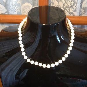 "Pearl White Vintage Necklace Faux 16"""